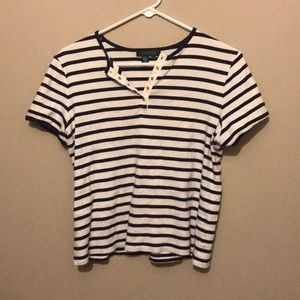 blue and white striped shirt with buttons